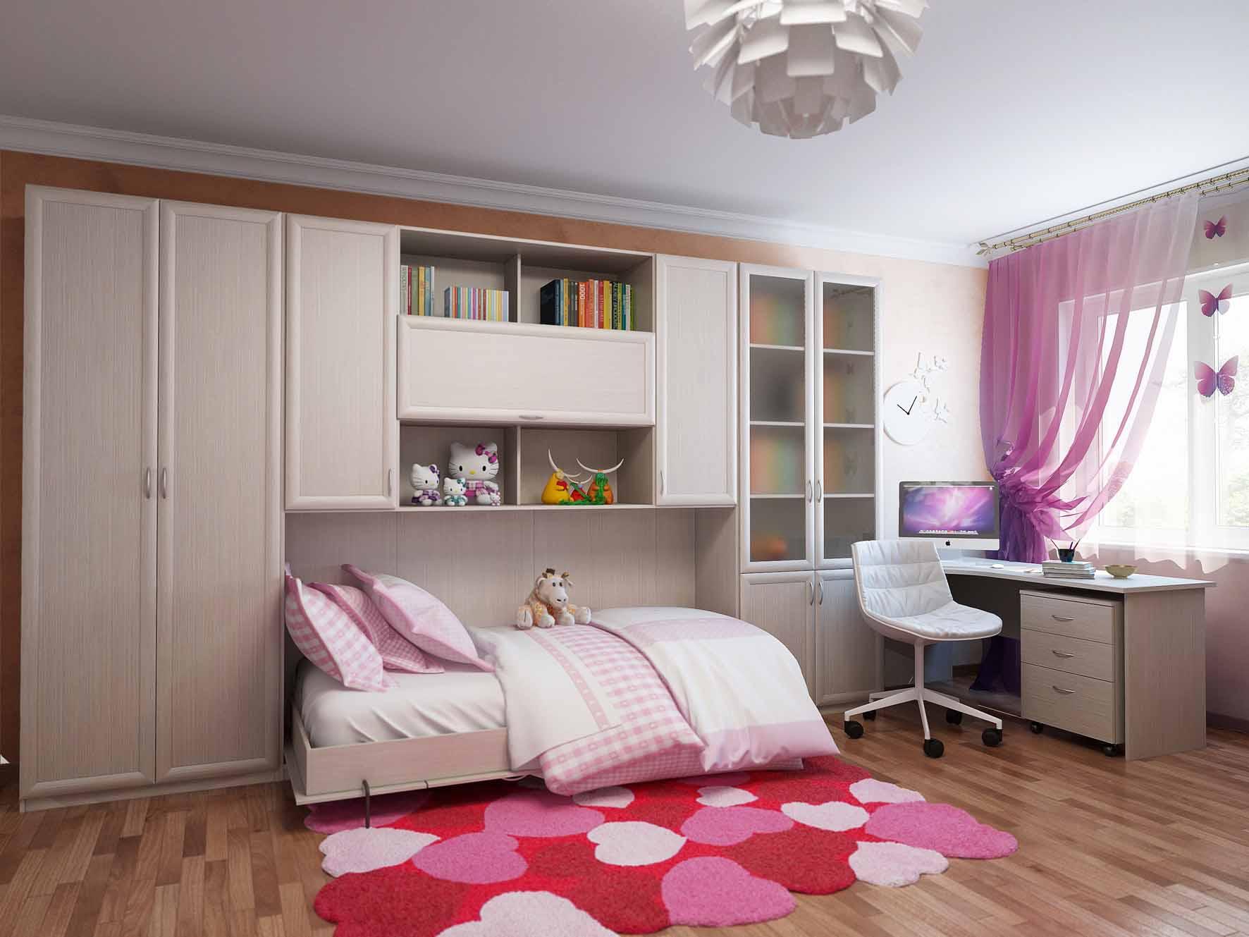 Встроенная кровать в шкаф в современном интерьере.